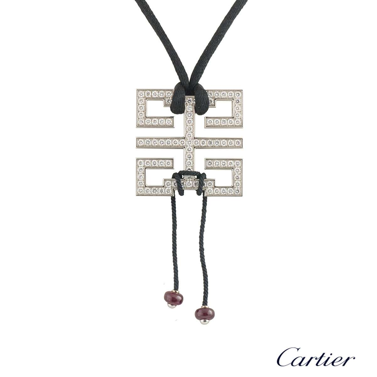 Cartier White Gold Diamond Le Baiser Du Dragon Pendant